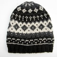 Hand Knit Fair Isle Alpaca Hat - White, Black, Gray - Medium to Large - Men and Women