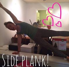Chelsea taking time to side plank during moving day