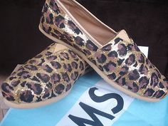 Women's Custom Cheetah Gold Glitter Sparkly Toms Shoes 6.5 US