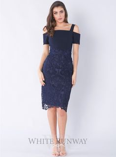 A gorgeous midi-length dress by Grace & Hart. A fitted off shoulder style featuring a floral cut-out lace skirt and thin shoulder straps. Winter Dresses, Formal Dresses, Wedding Dresses, Bride Dresses, Off Shoulder Fashion, Cold Shoulder Dress, Shoulder Straps, African Dress, Davids Bridal