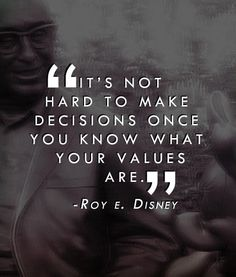 it's not hard to make decisions once you know what your values are - roy e disney