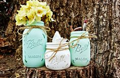Set of 3 Beautiful Painted and Distressed Mason Jars. Mason Jar Decor. Wedding Decorations. Rustic Wedding. Bathroom Storage. Bathroom Decor by KDubWoodCreations on Etsy