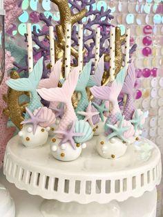 Bizzie Bee Creations 's Birthday / Mermaid - Photo Gallery at Catch My Party Mermaid Birthday Cakes, Mermaid Party Favors, 4th Birthday Cakes, Girl Birthday Decorations, Little Mermaid Birthday, Little Mermaid Parties, Mermaid Cakes, 1st Birthday Parties, Mermaid Cake Pops
