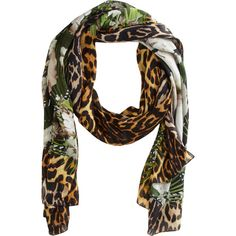 Givenchy Iris and Leopard Print Scarf ($390) ❤ liked on Polyvore