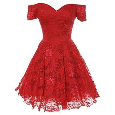 Origami Lace Dress ($120) ❤ liked on Polyvore featuring dresses, short dresses, vestidos, off the shoulder dress, short red dress, red dress and red mini dress