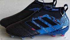 The black and blue Adidas Ace PureControl UCL Dragon boots introduce an eye-catching look for the laceless top-tier model of the next-gen Adidas Ace. Adidas Soccer Boots, Adidas Cleats, Adidas Football, Soccer Shoes, Cool Football Boots, Football Shoes, Football Cleats, Soccer Workouts, Soccer Gear