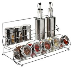 Stainless Steel Condiment Set With 2 Oil Vinegar Bottle Cruets 3 Shaker Spice Jars 5 Glass Canister Jars Chrome Rack * Find out more about the great product at the image link.