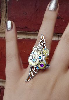 'Steampunk universe'  Silver filigree crystal steampunk ring