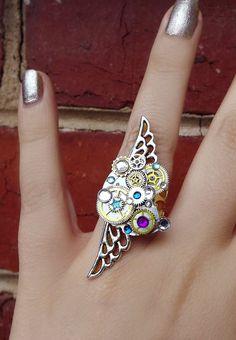 'Steampunk universe'  Silver filigree crystal steampunk ring