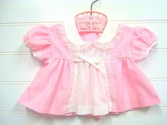 Vintage Baby Clothes, Baby Girl Dress In Pink and White With Lace Accents. Reborn baby # on Etsy, $14.00