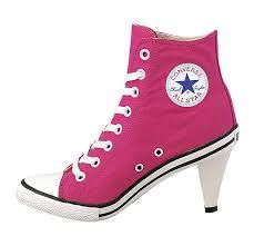 Pinky Converse shoes with 2 inches heels.