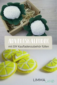 Fill advent calendar: With DIY accessories for shops & children's kitchens - fürs Lenchen ♡ - Making an advent calendar is an annual program for many parents. Easy Toddler Crafts, Easy Crafts, Diy And Crafts, Kids Crafts, Crafts For Teens To Make, Diy For Kids, Christmas Books, A Christmas Story, Make An Advent Calendar