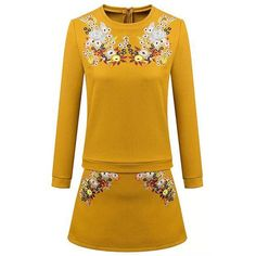 Casual Style Floral Embroidery Round Neck Long Sleeve Blouse + Skirt For Women #women, #men, #hats, #watches, #belts, #fashion, #style
