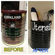 DIY. Coffee Tin made into a Kitchen Utensil Holder!