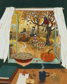 There's something about the Fall in childhood...🍂 art by Lore Pemberton : Fall Autumn Illustration, Cute Illustration, Autumn Aesthetic, Autumn Art, Halloween, Oeuvre D'art, Cute Drawings, Illustrations Posters, Cute Art