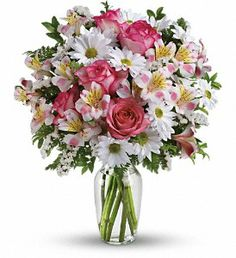 """This charming bouquet is called """"What a Treat"""" because that's what it is. A sparkling clear glass vase overflowing with pink roses, pink alstroemeria, white mums and white statice - what could be """"treatier?"""" Treat someone specia Home Flowers, Spring Flowers, Beautiful Flowers, Send Flowers, Flowers Garden, Beautiful Flower Arrangements, Floral Arrangements, Cemetery Flowers, Flower Delivery"""