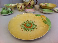 Beautiful, vintage 1930's, English, Carlton Ware Buttercup cake plate. From Fibs & Scraps on Etsy.