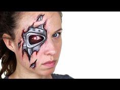 Tutorial zum Roboter- / Terminator-Make-up Robot Makeup, Scary Makeup, Sfx Makeup, Makeup Lips, Terminator Makeup, Crazy Halloween Makeup, Halloween Stuff, Scary Face Paint, Face Awards