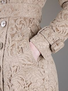 Burberry Lace Trench Coat in Beige - Lyst