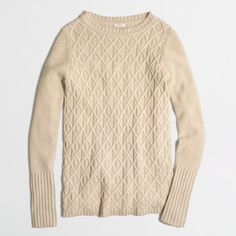 J.Crew Factory cable-knit tunic sweater ($44) ❤ liked on Polyvore featuring tops, sweaters, chunky cable knit sweater, pink sweater, cable sweater, long sleeve sweaters e cable knit sweater