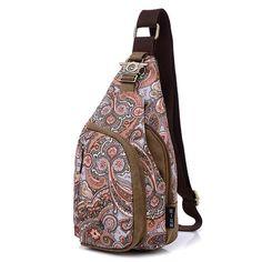 Women Canvas Chest Bags Folk-custom Flower Shoulder Bags Crossbody Bags - Banggood Mobile