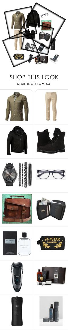 """Created in the Polyvore iPhone app. http://www.polyvore.com/iOS"" by maria-jesus-da-silva ❤ liked on Polyvore featuring Chor, Timberland, Kenneth Cole, Dsquared2, Braun, Tri Coastal Design, Axe, Toni&Guy, men's fashion and menswear"