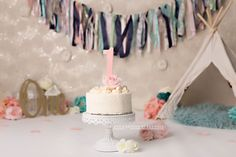 Girly pink and blues cake smash set up for first birthday photos Pink Smash Cakes, Girly Cakes, Blue Cakes, Photography Set Up, Cake Smash Photography, First Birthday Photos, Vanilla Cake, First Birthdays, Blues