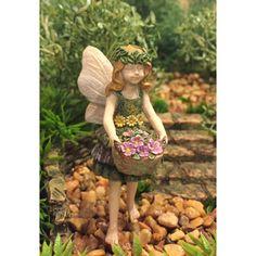 Miniature Figurine FAIRY GARDEN ~ Yellow Pastel Fairy Laying in Pink Rose Flower