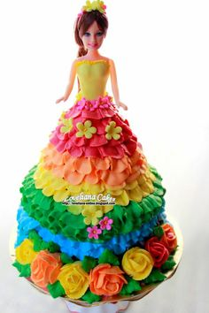 A Rainbow Barbie cake by http://loveliana-online.blogspot.com/