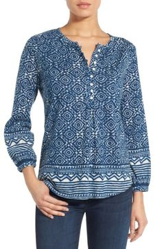 Lucky Brand Geo Border Print Henley Top available at Kurta Designs, Blouse Designs, Henley Top, Western Outfits, Work Attire, Shirt Blouses, Shirts, Lucky Brand, Boho Fashion