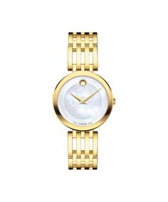 Movado Women's Esperanza Gold-Tone Stainless Watch with Mother of Pearl Museum Dial 0607054 Stainless Steel Watch, Stainless Steel Bracelet, Swiss Watch Brands, Gold Watches Women, Classic Gold, Fine Watches, Bracelet Designs, Fashion Watches, Watch Bands