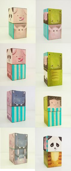 Designer TOY - Hand painted wooden puzzle with your favorite animals