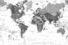 Black and White Detailed Map Mural, custom made to suit your wall size by the UK's No.1 for murals. Custom design service and express delivery available.