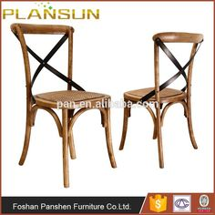 Classic American Home furniture beech wood X Back armless Gear Dining Chair