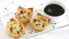 Corned beef, sauerkraut and cheese-stuffed wontons with a sweet Guinness reduction on the side – mmmmmm.