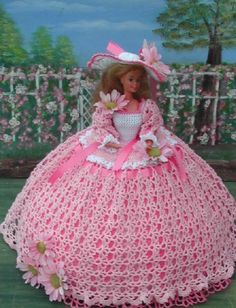 CROCHET FASHION DOLL PATTERN-#26 PAINTED DAISIES #ICSORIGINALDESIGNS