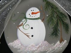 Hand Painted Frosted Round Glass Christmas by traditionsbylinda, $15.00
