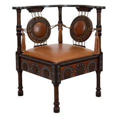 Merveilleux Antique Inlaid Wood Corner Chair By Carlo Bugatti
