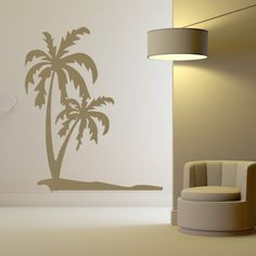 Palm Trees Wall Stickers Beach Wall Decal Art available in 5 Sizes and 25 Colours X-Large Nut Brown
