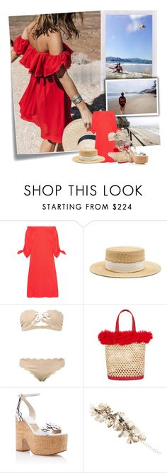 """In love with Summer..."" by sue-mes ❤ liked on Polyvore featuring Post-It, TIBI, Filù Hats, Marysia Swim, Nannacay and Balmain"