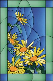 Beautiful stained glass - Daisies
