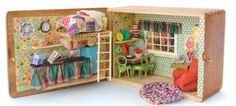 What cute litte boxes for a traveling doll house for those ling car ride vacations!