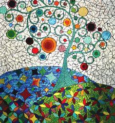 Tree Mosaic ~ by Ciel Gallery Mosaic Wall Art, Tile Art, Mosaic Tiles, Tiling, Mosaic Crafts, Mosaic Projects, Tile Crafts, Mosaic Designs, Mosaic Patterns