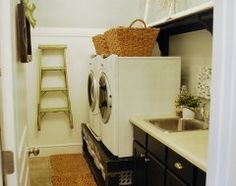 baskets on top of washer and dryer instead of stuff thrown around