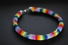 Peruvian Style Necklace Beaded Rainbow Necklace Chunky Rope