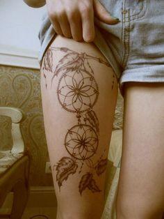 Sexy leg tattoos dreamcatcher style
