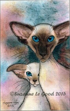 EDITION SIAMESE CAT & KITTEN PAINTING PRINT FROM ORIGINAL BY SUZANNE LE GOOD | eBay