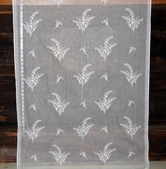 Lily of the valley Nottingham lace curtain fabric white