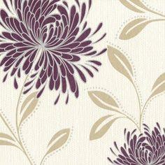 Belgravia Decor Dahlia Wallpaper Plum / Cream