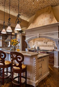 A new collection of interior designs featuring 16 Charming Mediterranean Kitchen Designs That Will Mesmerize You. Kitchen Art, Kitchen Interior, Kitchen Decor, Kitchen Ideas, Interior Modern, Interior Design, Boho Kitchen, Kitchen Layout, English Interior